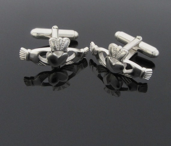 Claddagh Cufflinks - Sterling Silver Cufflinks - Mens Jewelry - Wedding Jewelry - Father's Day - Made in Ireland - Free Worldwide Shipping