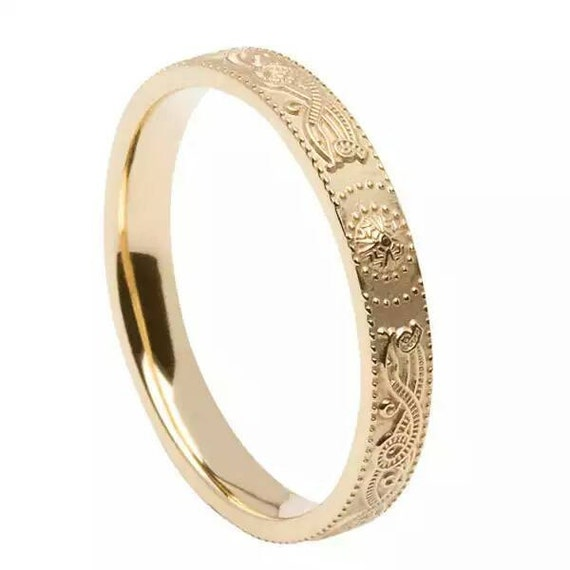 14k Gold Irish Handmade Celtic Warrior Band - Handmade in lreland - Celtic Warrior Shield Ring - Free Worldwide Shipping