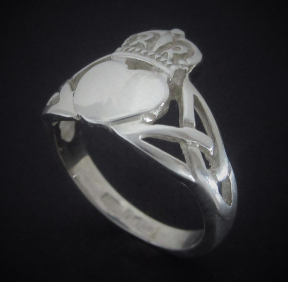 Sterling Silver Claddagh Ring- Silver Claddagh Ring - Unisex Claddagh Ring - Trinitity Knot Claddagh Ring - Irish Claddagh