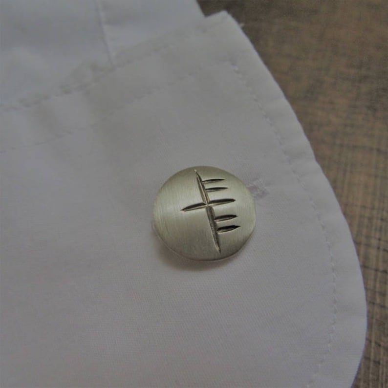 Groomsman Bestman Unique Jewelry -Wedding Father/'s Day Pesonalised Jewelry Handcrafted Silver Ogham Cufflinks