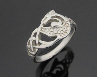 Celtic Dragon Ring -Irish Celtic Ring - Sterling Silver Celtic Dragon Ring - Irish Jewelry -  Designed and Made in Ireland
