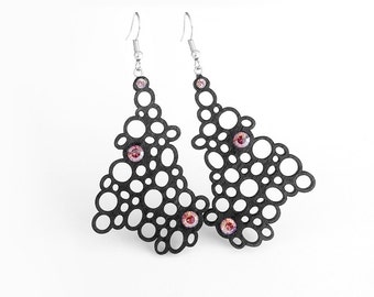 Limited edition designer earrings, contemporary, modern FREE Shipping, lasercut wood, Swarovski crystals, silver plated steel, polymer clay
