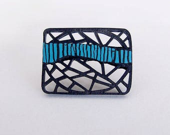 Brooch, modern, contemporary jewelry design, unique, original, one of a kind, handmade, geometric, laser cut wood, polymer clay, gift idea