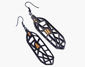 Limited edition designer earrings, contemporary, modern jewelry, FREE Shipping, handmade, lasercut wood, polymer clay, black steel hooks