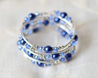 Blue bracelet - Birthday Gifts for her - Womens gift - Beaded bracelet for women - Gift for wife - Pearl & crystal bracelet - Wrap bracelet