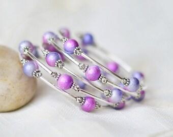 Gift for mom - Birthday gift - Beaded wrap bracelet - Pink purple bracelet - Bracelet for women - Gift for her - Memory wire bracelet