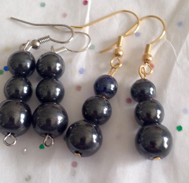 Hematite earrings  Hematite beads  Symbolic beads  Three stone earrings   Black earrings  Black beads  Hematite jewelry  Blood stone