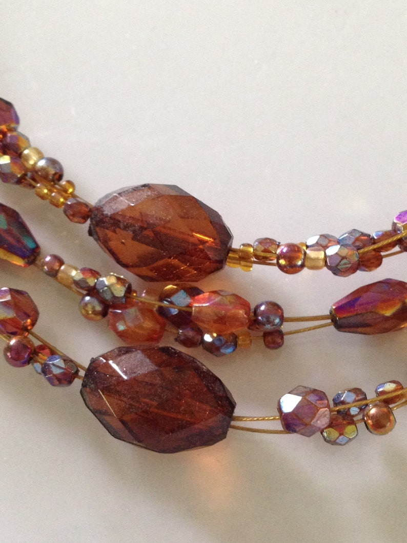 Triple strand beaded wire necklace Copper wire necklace TBFB1504 Copper jewelry copper necklace Copper Beads Wire necklace.Wire jewelry