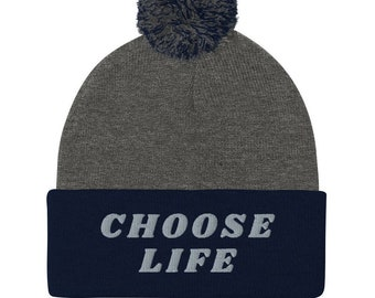 Free Shipping on PROLIFE  Embroidered Unisex Pom-Pom Beanie - CHOOSE LIFE - 100% Acrylic - one size fits most - Wear this message all year!