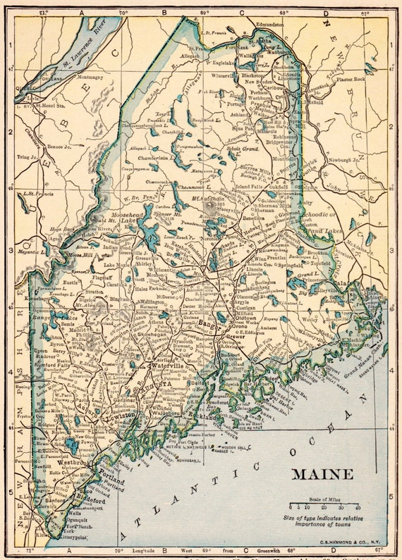 VINTAGE 1923 MAINE US Map - Bathroom Home Decor - Perfect Gift for on map of ogunquit maine, earthquake maine, state map maine, walmart maine, united states maine, google maps maine,