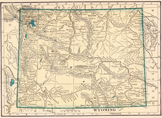 Kirwin Wyoming Map.Vintage 1923 Wyoming Map Bedroom Home Decor Perfect Gift Etsy