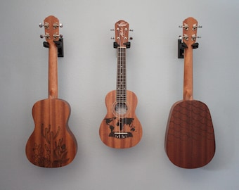 CUSTOM Ukulele Art (Light Wood) Available in Soprano, Concert, Tenor, and Pineapple size ukuleles. Left handed ukuleles also available.