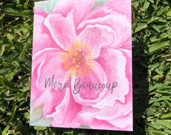 Set of Printed Stationery: Pretty Peony Watercolor Painting // Personalized Gift // Floral Notecard Set // Mother's Day // Merci Beaucoup