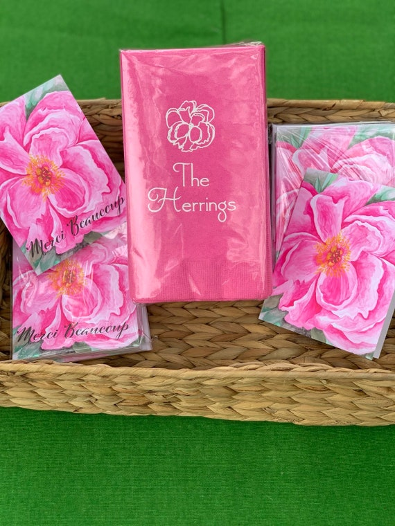 Flower Print Paper Guest Towels Floral Hand Towel Pink And Etsy