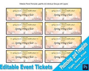 Event-Tickets editierbare WORD-Vorlage bedruckbar