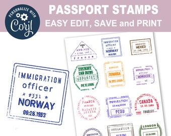 Editable International PASSPORT STAMPS Personalize Printable Collage Sheet Edit Vintage Travel Clipart Digital Download Scrapbooking