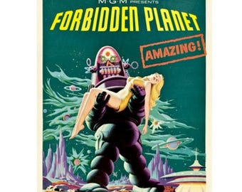 FORBIDDEN PLANET Movie Poster - Starring Robby The Robot - Classic Science Fiction Adventure Movie Poster - Vintage Film Print / Posters