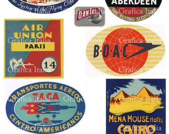 10 travel stickers clipart retro digital printable collage etsy