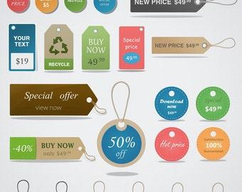 Price Tag Clipart Set, Hang Tags Clip Art, Sales Tags