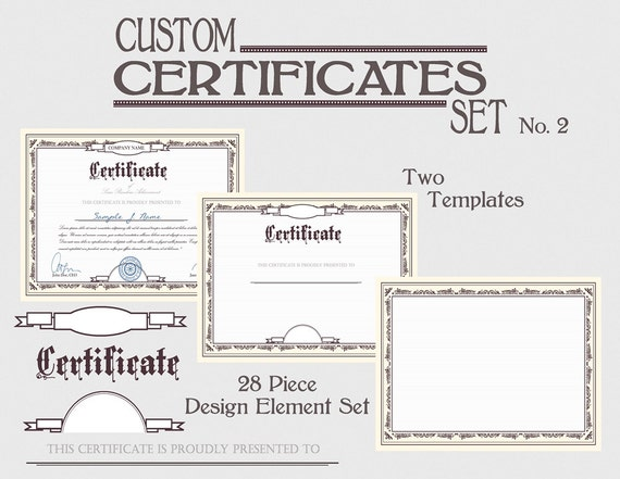Certificate Template Set Diy Award Certification Diploma Document