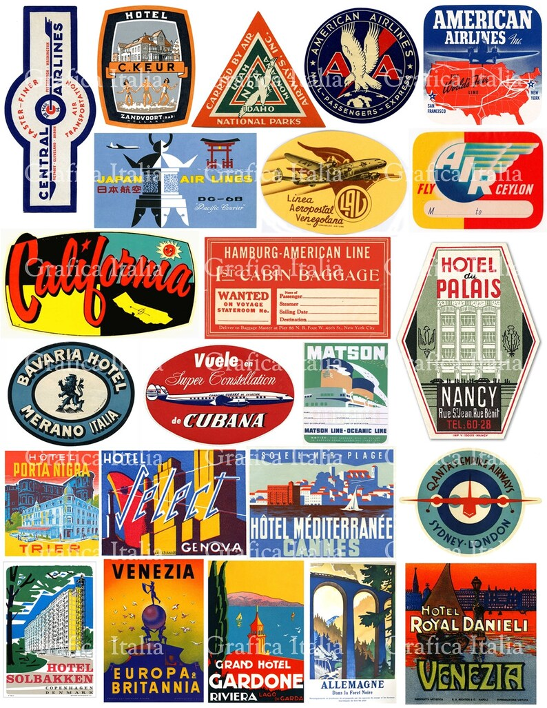6d737a063c2c Travel Luggage Labels Clipart - Retro Digital Printable Collage Sheets -  Vintage Suitcase Stickers Clip Art - Instant Download