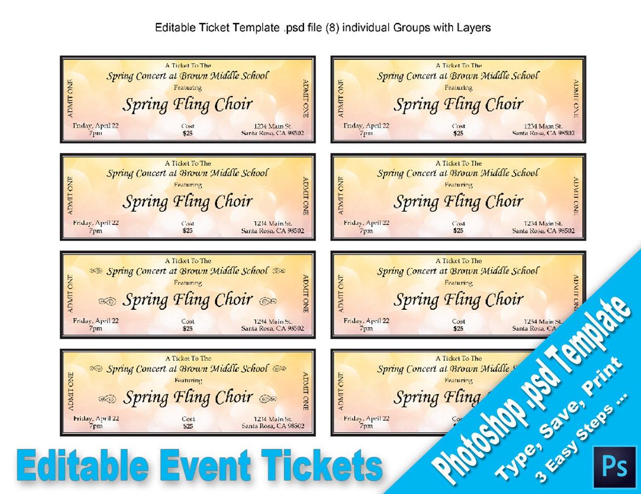 Event-Tickets bearbeitbare Photoshop PSD-Vorlage druckbare   Etsy
