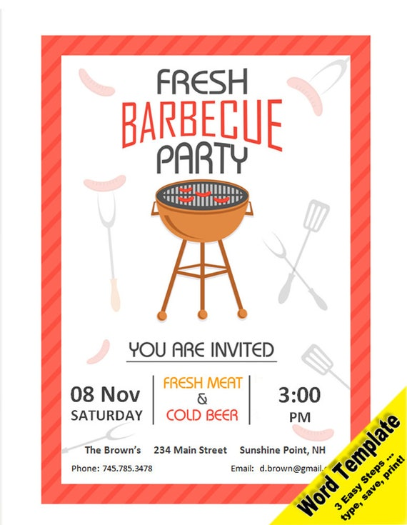 Barbecue Party Invitation Editable WORD Template Printable Instant Download You EDIT Word Diy BBQ Invite
