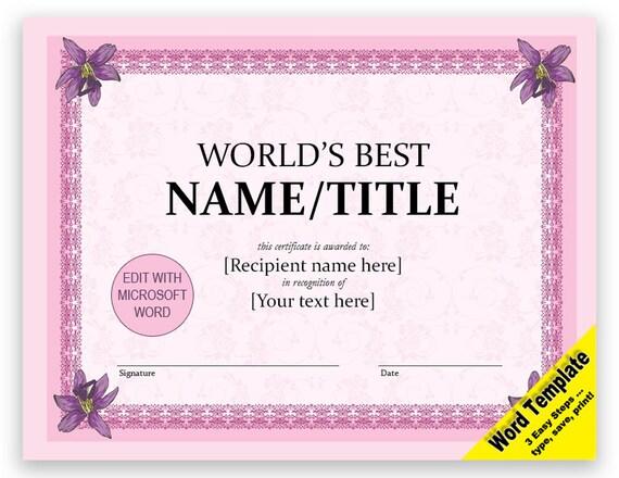 Zertifikat-editierbare Word-Vorlage druckbare sofortiger