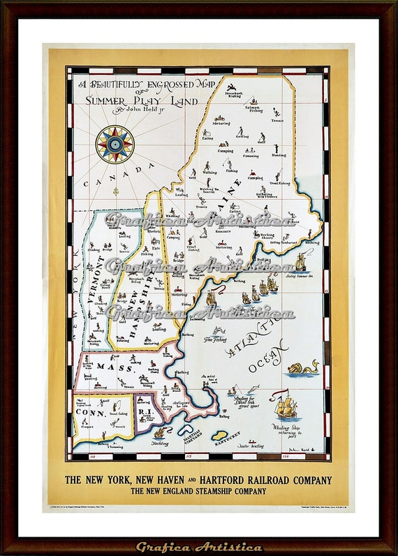 graphic regarding Printable Map of New England referred to as Fresh new England Summer time Perform Land Map Push Poster, Basic Printable Immediate Electronic Down load Print, Wall Decor