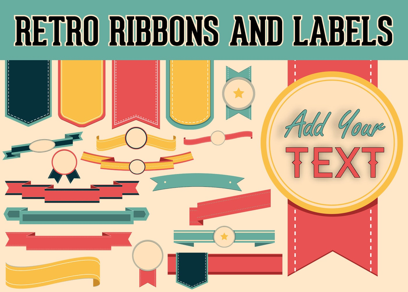 retro ribbons labels clipart elements blank template clip | etsy