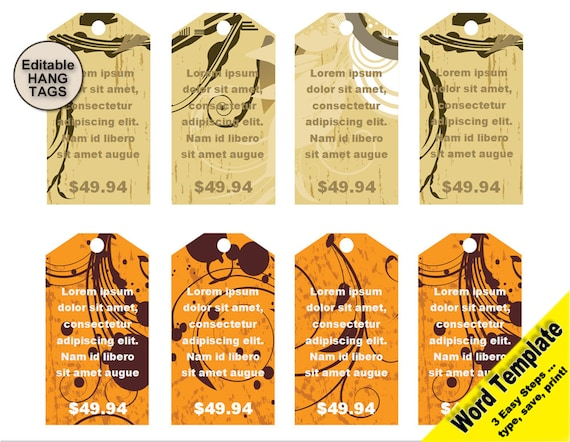 gift tag editable word template price tag clipart set hang etsy