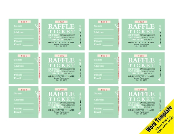 Raffle tickets editable word template printable instant etsy image 0 maxwellsz