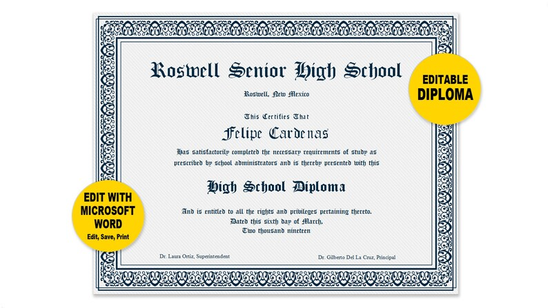 image about Printable Diplomas called Degree, Editable Term Template, Printable, Immediate Down load, Oneself EDIT Term Template, Do it yourself DIPLOMAS Certification Template, Awards Appreciation