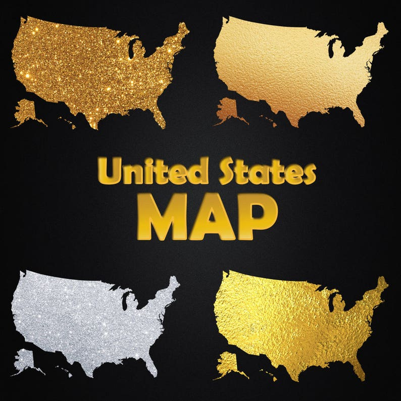 United States Map - Gold Foil Gold Glitter Silver Glitter Clipart  on gold in vermont, gold in california, gold in puerto rico, gold in united states, gold in turkey, gold in pennsylvania, gold in north dakota, in the civil war states map, gold in indiana, copper mining in the united states, us mining map, gold mines in usa, virginia gold mining, gold mining in alaska, gold in arkansas, gold country, gold deposits in usa, landslide united state map, latin america map,
