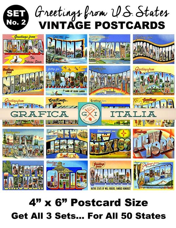 Vintage Travel Postcard Clipart - Set No  2 - Retro U S  State Post Card  Clip Art American States Print, Scrapbooking, Printable Wall Decor