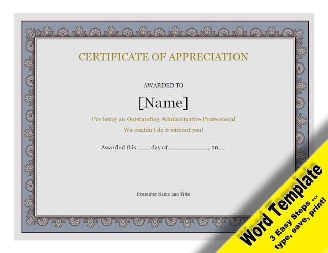 Zertifikat der Wertschätzung editierbare Word-Vorlage | Etsy