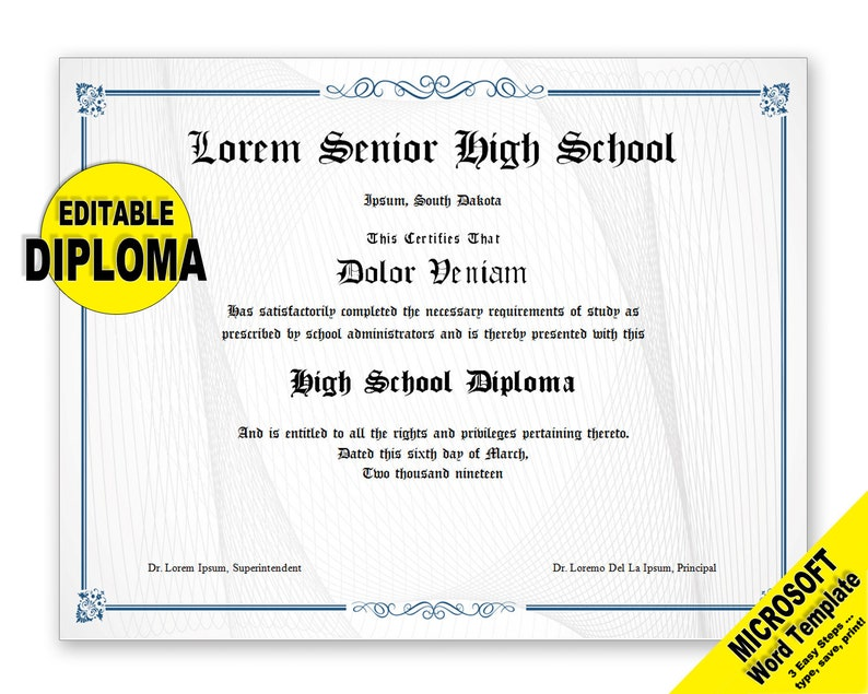 image about Printable Diplomas referred to as Degree, Editable Phrase Template, Printable, Quick Down load, Your self EDIT Phrase Template, Do-it-yourself DIPLOMAS Certification Template, Awards Appreciation