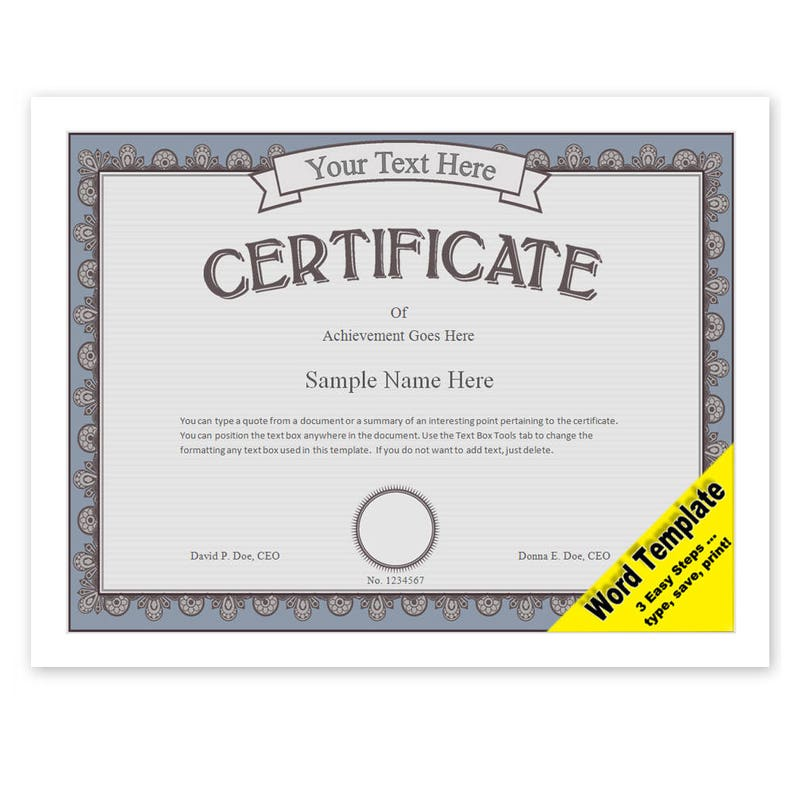 Certificate Editable Word Template Printable Instant Etsy