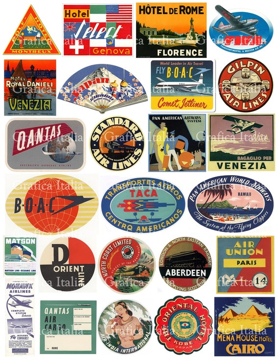 25 travel luggage stickers retro digital printable collage etsy
