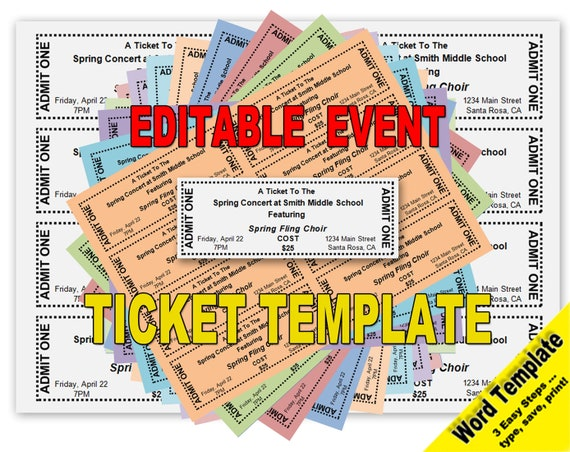 Event Tickets Editable WORD Template Printable Instant | Etsy
