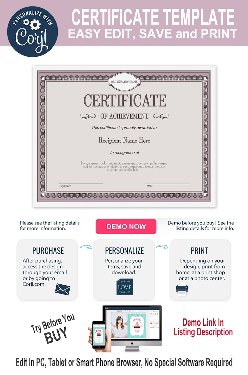 photograph regarding Certificate of Achievement Printable named Certification of Success, Editable Template, Printable, Immediate Down load, By yourself EDIT Template, Do-it-yourself Certification Template, Awards, Degree,