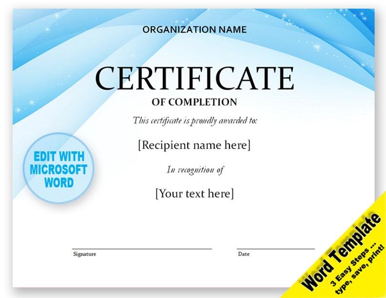 Zertifikat Editierbare Word Vorlage Druckbare Sofortiger Etsy