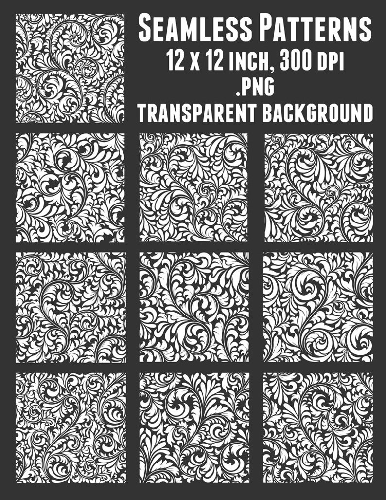 3c5ab1f59b79 Floral Seamless Pattern Set of 10, Tileable Scroll Patterns, White 12 inch  SQ Transparent Background Clip Art, paisley damask Clipart