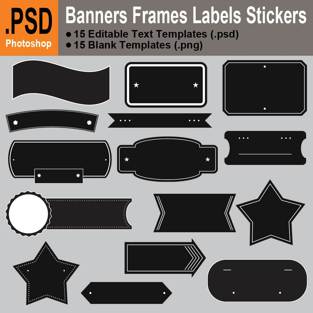 Banner Frame Label Sticker Template PSD PNG Clipart Graphics | Etsy