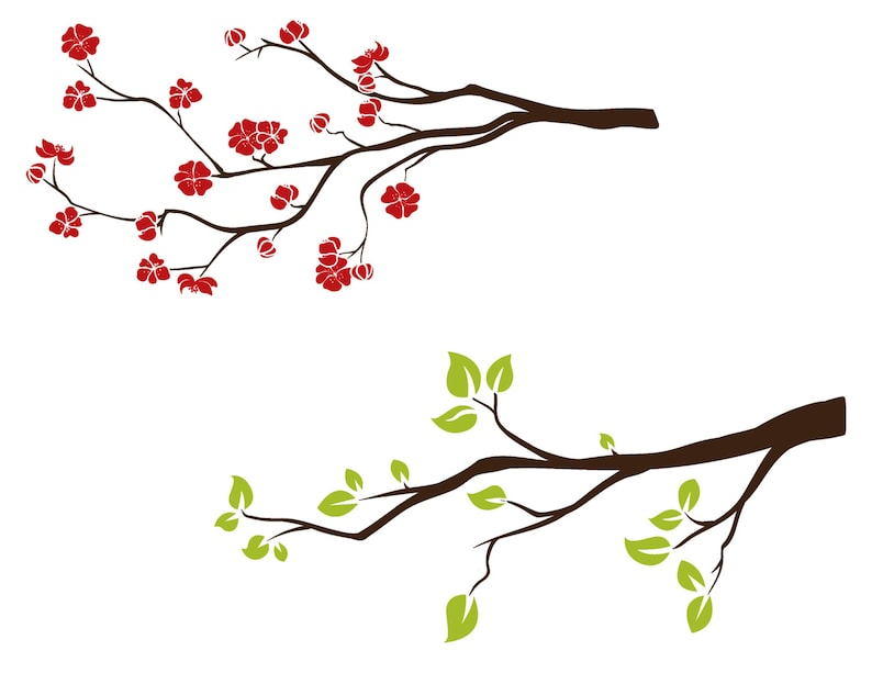 Spring Tree Branch Clipart Flowering Tree Clip Art Digital Etsy