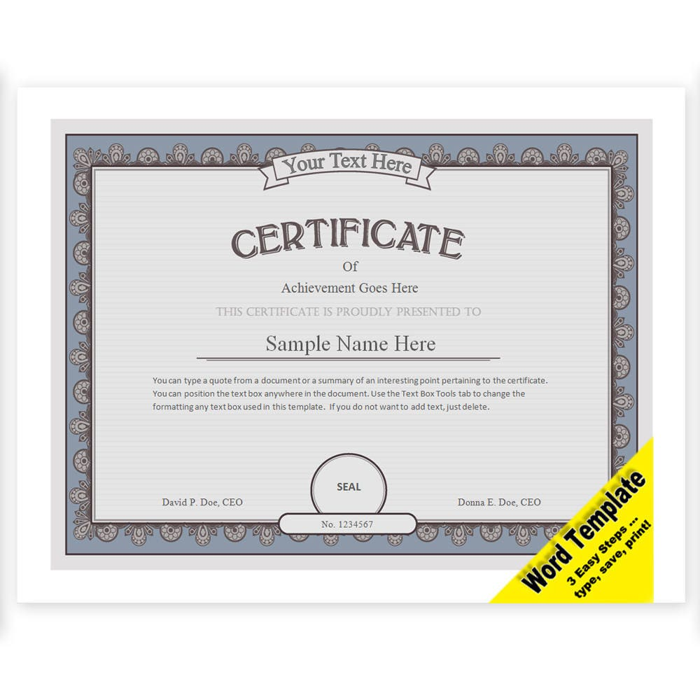 This is a photo of Modest Free Printable Certificate Template