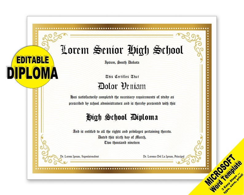 photo regarding Printable Diplomas known as Degree, Editable Phrase Template, Printable, Prompt Down load, By yourself EDIT Term Template, Do-it-yourself DIPLOMAS Certification Template, Awards Appreciation