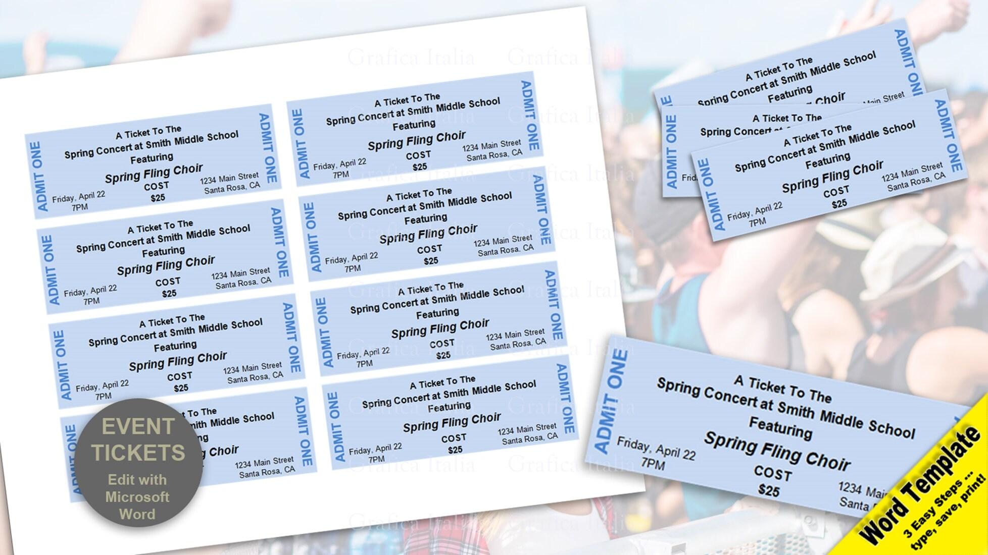 Event-Tickets editierbare WORD-Vorlage bedruckbar | Etsy