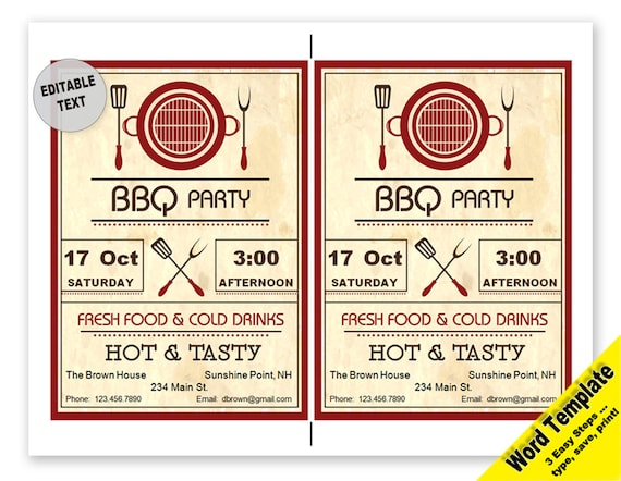 Barbecue Party Invitation 5x7 In Editable Word Template Etsy