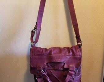 Large Italian Leather crossbody tote bag burgandy leather patchwork handbag  western boho purse Lucky Brand womens fashion stitched leather e4b3c4e04196d